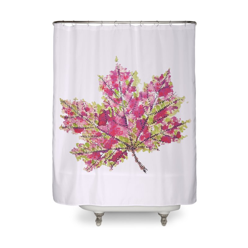Colorful Watercolor Autumn Leaf In Purple And Green Home Shower Curtain by Boriana's Artist Shop
