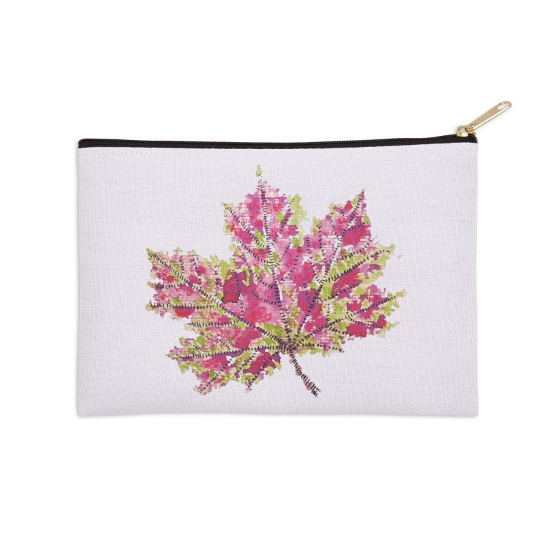 Colorful Watercolor Autumn Leaf In Purple And Green Accessories Zip Pouch by Boriana's Artist Shop