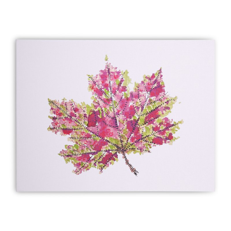 Colorful Watercolor Autumn Leaf In Purple And Green Home Stretched Canvas by Boriana's Artist Shop