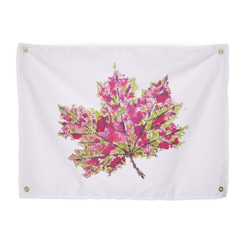 Colorful Watercolor Autumn Leaf In Purple And Green Home Tapestry by Boriana's Artist Shop