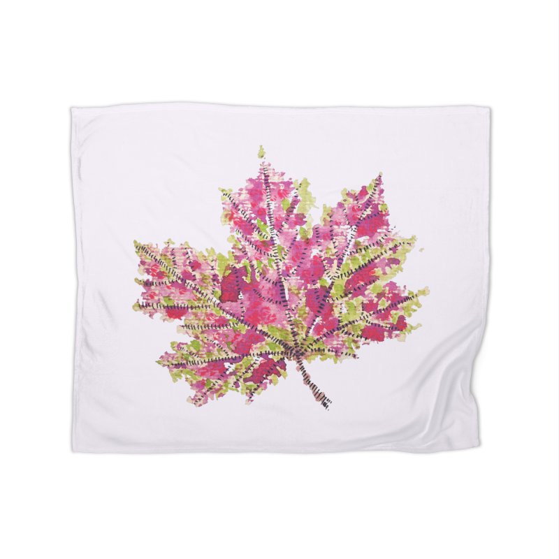 Colorful Watercolor Autumn Leaf In Purple And Green Home Blanket by Boriana's Artist Shop