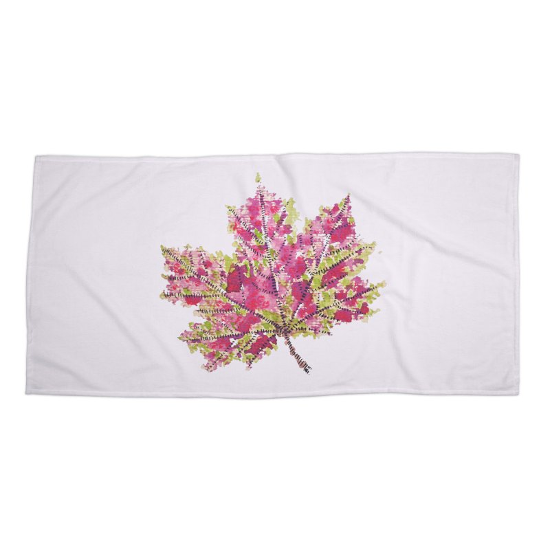 Colorful Watercolor Autumn Leaf In Purple And Green Accessories Beach Towel by Boriana's Artist Shop