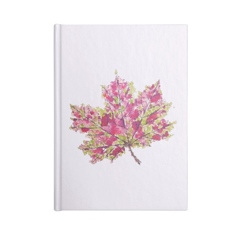 Colorful Watercolor Autumn Leaf In Purple And Green Accessories Notebook by Boriana's Artist Shop
