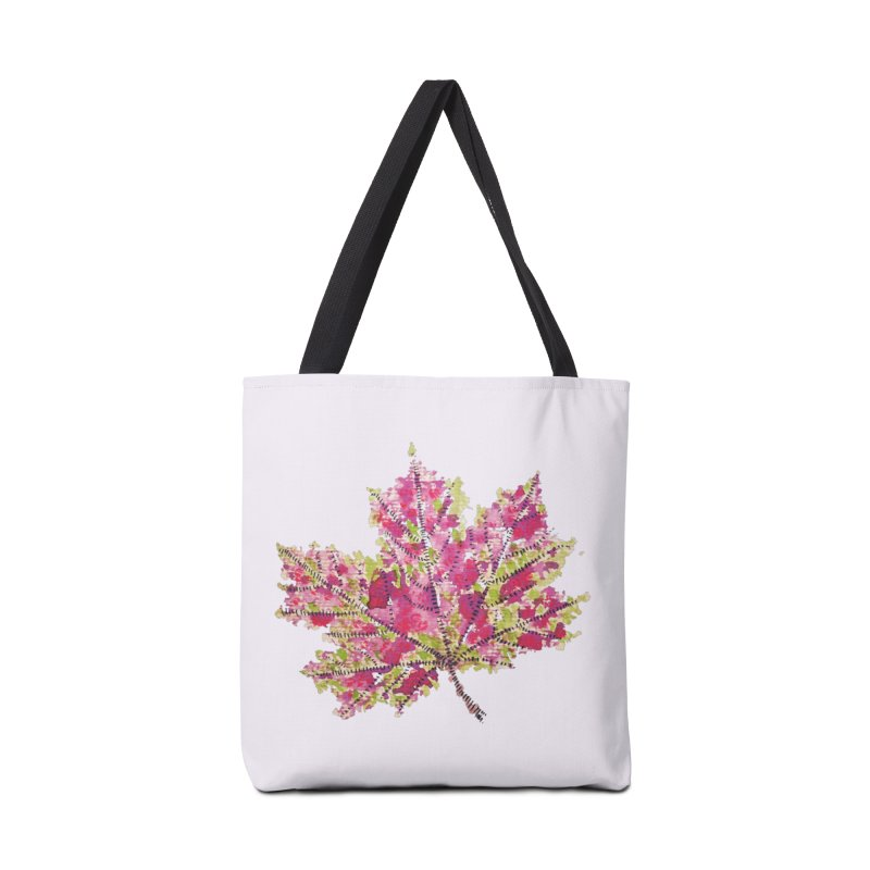 Colorful Watercolor Autumn Leaf In Purple And Green Accessories Bag by Boriana's Artist Shop