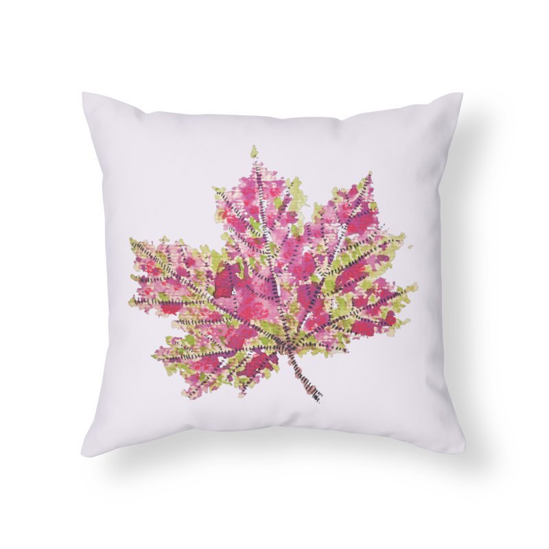 Colorful Watercolor Autumn Leaf In Purple And Green Home Throw Pillow by Boriana's Artist Shop