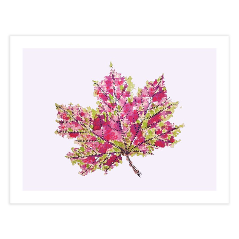 Colorful Watercolor Autumn Leaf In Purple And Green Home Fine Art Print by Boriana's Artist Shop