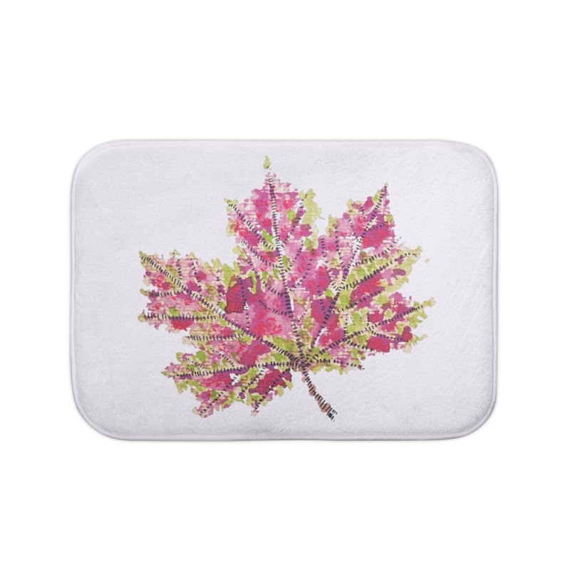 Colorful Watercolor Autumn Leaf In Purple And Green Home Bath Mat by Boriana's Artist Shop