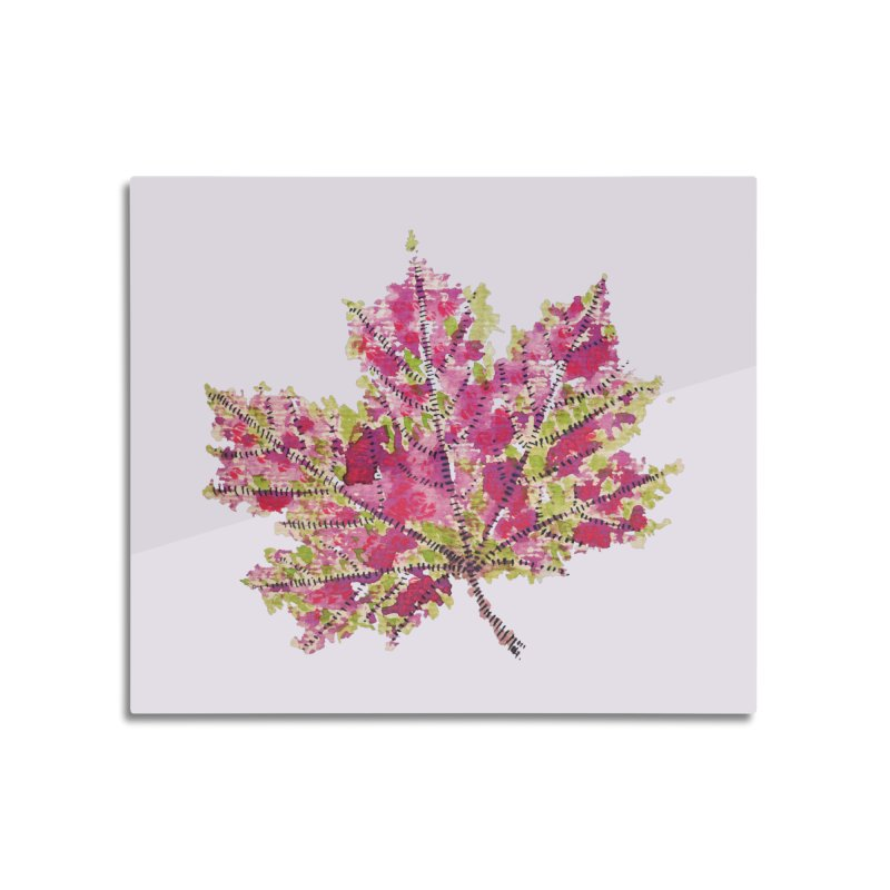 Colorful Watercolor Autumn Leaf In Purple And Green Home Mounted Aluminum Print by Boriana's Artist Shop