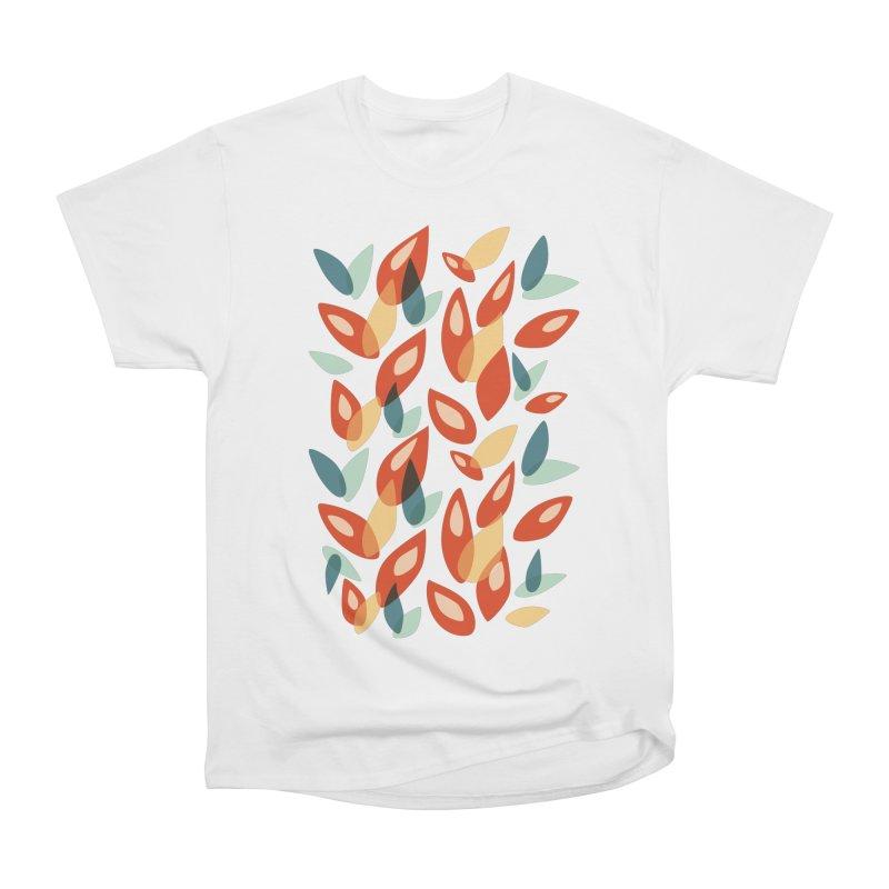 Abstract Autumn Leaves Pattern Men's Heavyweight T-Shirt by Boriana's Artist Shop
