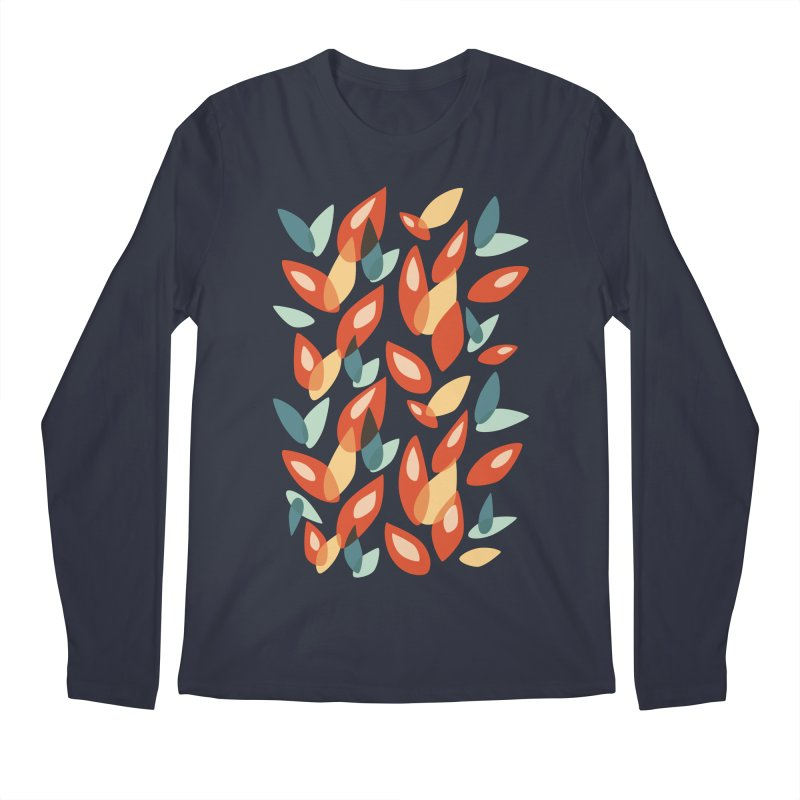 Abstract Autumn Leaves Pattern Men's Longsleeve T-Shirt by Boriana's Artist Shop