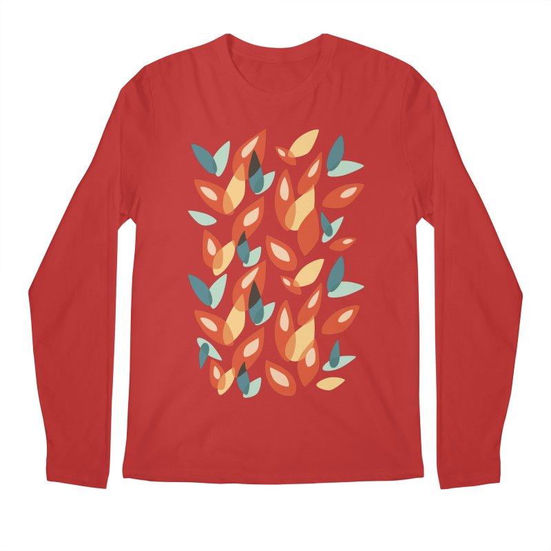 Abstract Autumn Leaves Pattern Men's Longsleeve T-Shirt by Boriana's Artist Shop