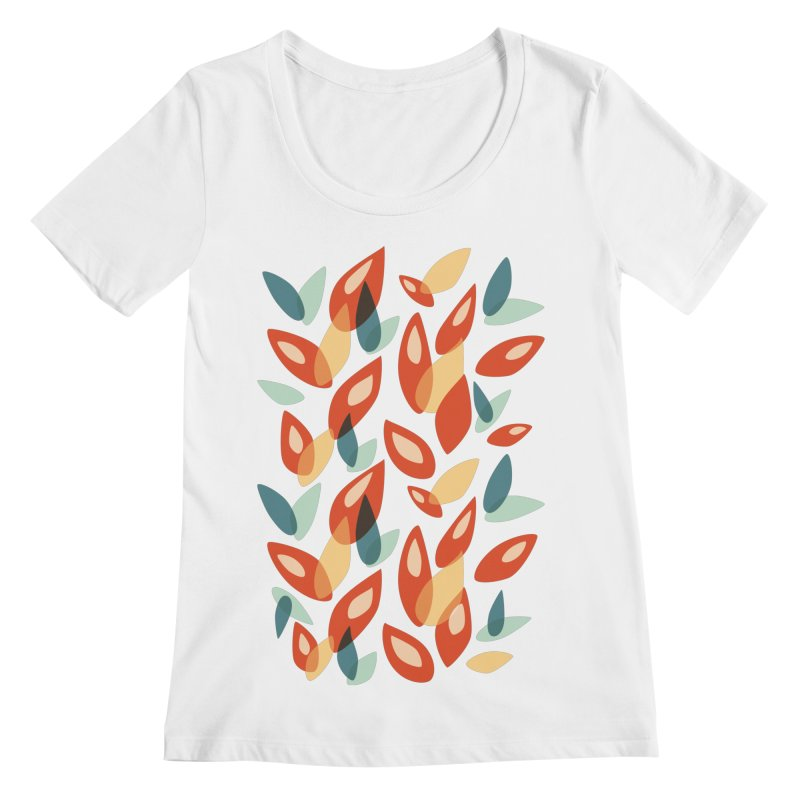 Abstract Autumn Leaves Pattern Women's Scoopneck by Boriana's Artist Shop