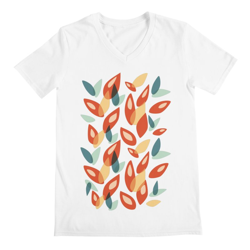 Abstract Autumn Leaves Pattern Men's V-Neck by Boriana's Artist Shop