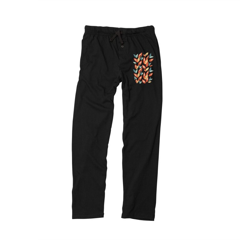 Abstract Autumn Leaves Pattern Men's Lounge Pants by Boriana's Artist Shop