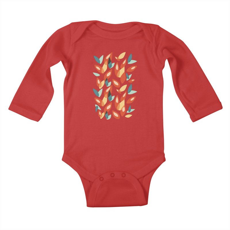 Abstract Autumn Leaves Pattern Kids Baby Longsleeve Bodysuit by Boriana's Artist Shop