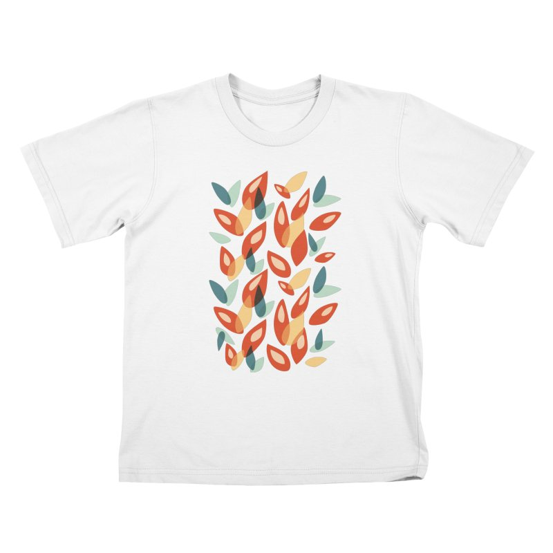 Abstract Autumn Leaves Pattern Kids T-Shirt by Boriana's Artist Shop