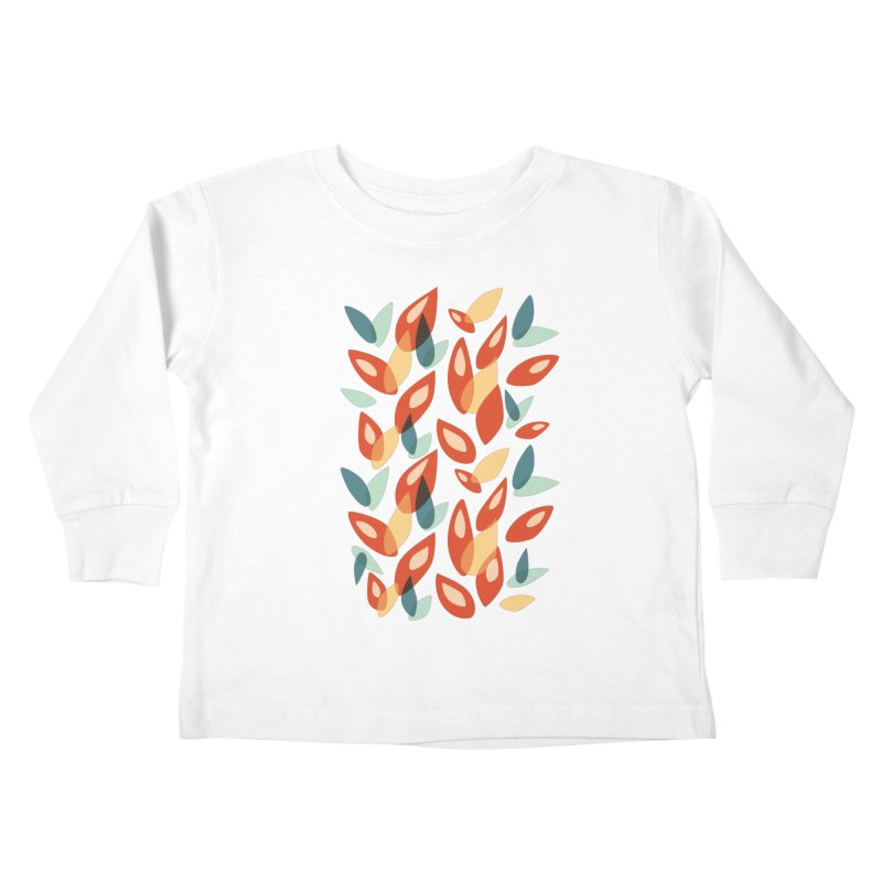 Abstract Autumn Leaves Pattern Kids Toddler Longsleeve T-Shirt by Boriana's Artist Shop