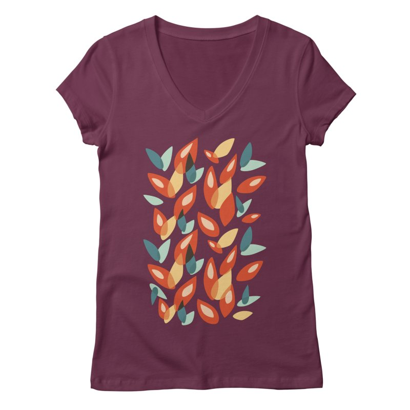 Abstract Autumn Leaves Pattern Women's V-Neck by Boriana's Artist Shop