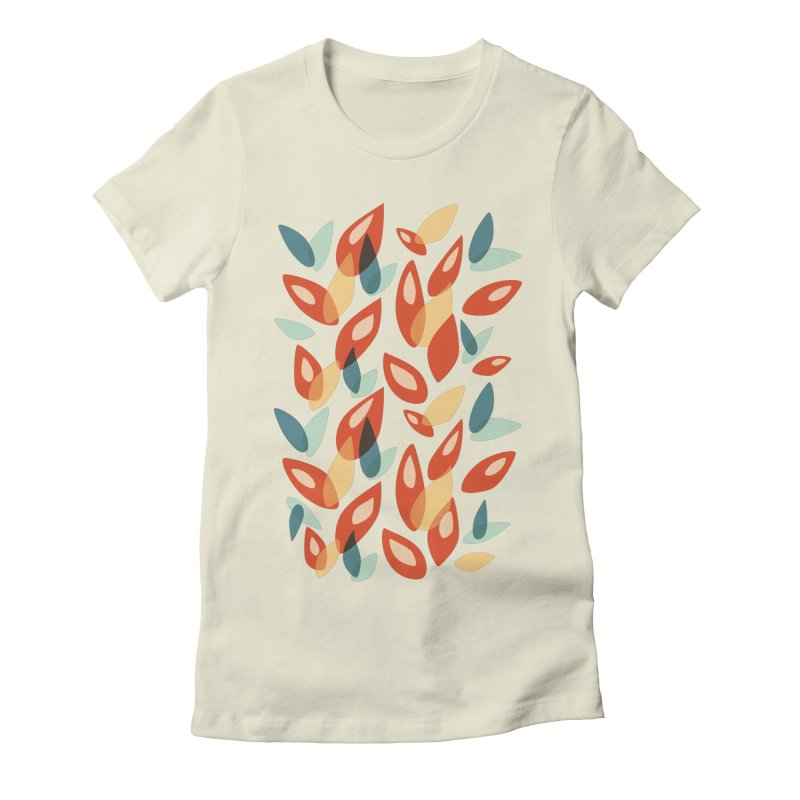 Abstract Autumn Leaves Pattern Women's Fitted T-Shirt by Boriana's Artist Shop