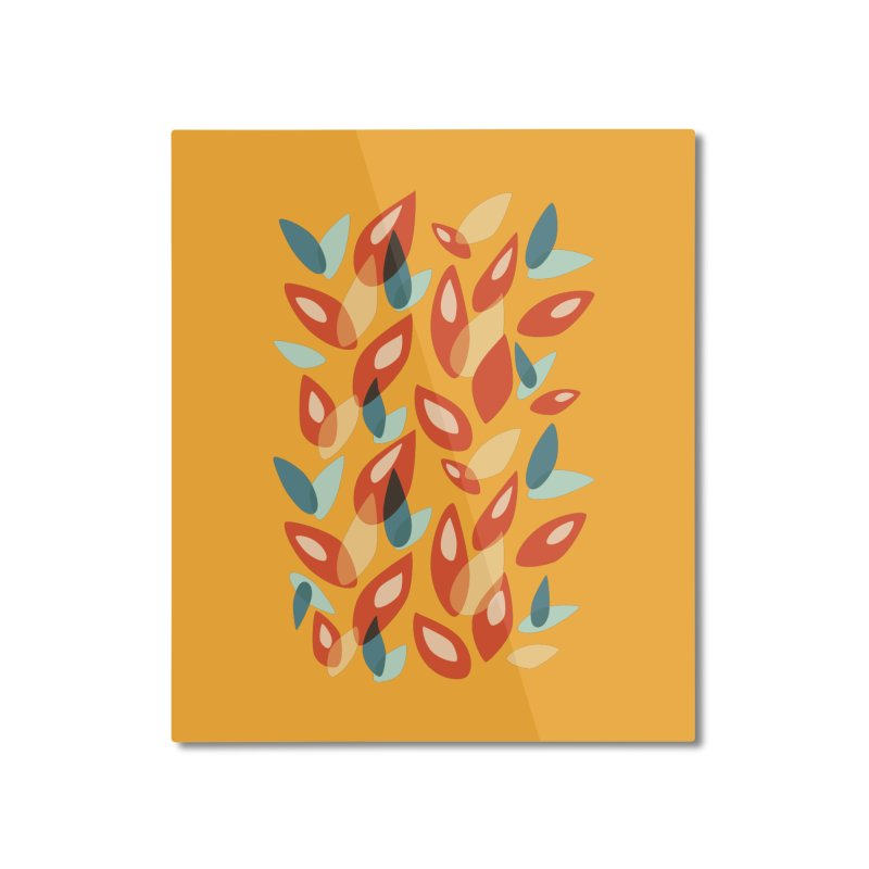 Abstract Autumn Leaves Pattern Home Mounted Aluminum Print by Boriana's Artist Shop