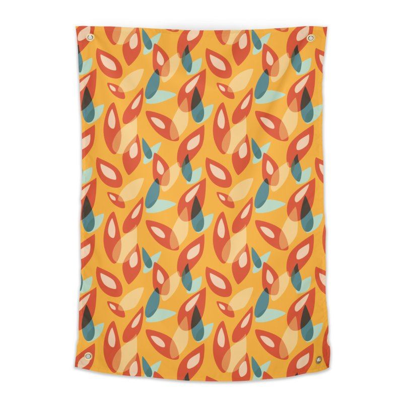 Abstract Autumn Leaves Pattern Home Tapestry by Boriana's Artist Shop