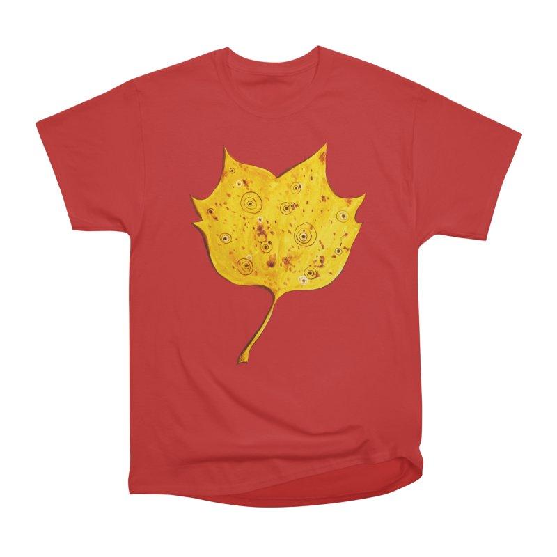 Fancy Yellow Autumn Leaf Men's Classic T-Shirt by Boriana's Artist Shop