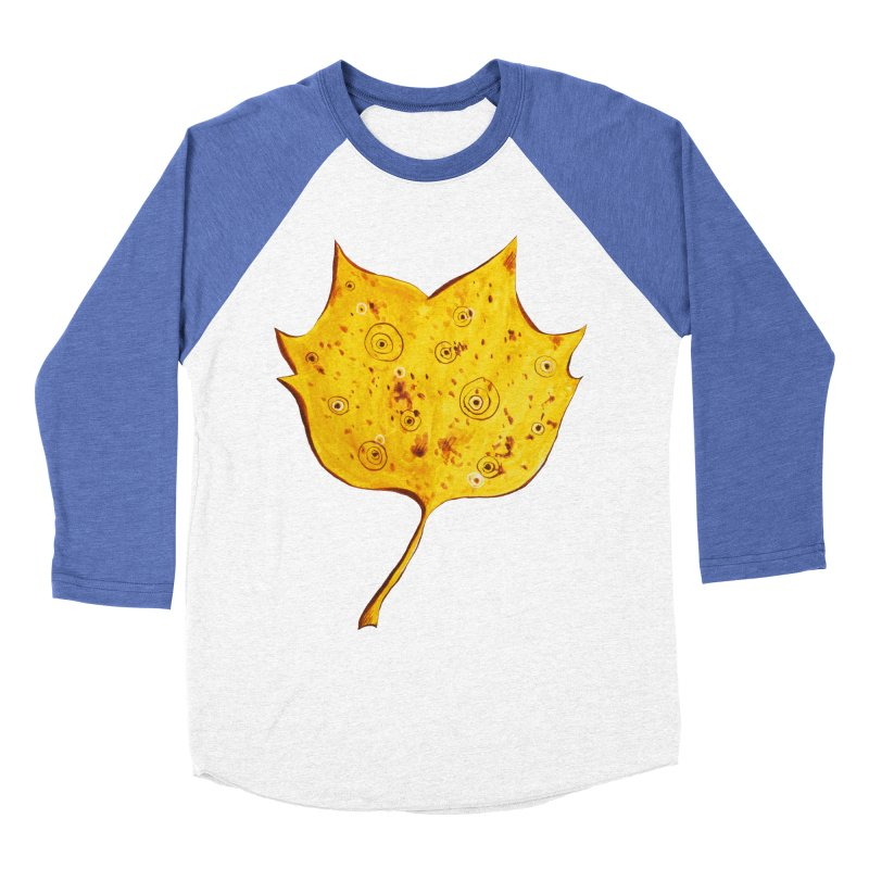 Fancy Yellow Autumn Leaf Women's Baseball Triblend T-Shirt by Boriana's Artist Shop