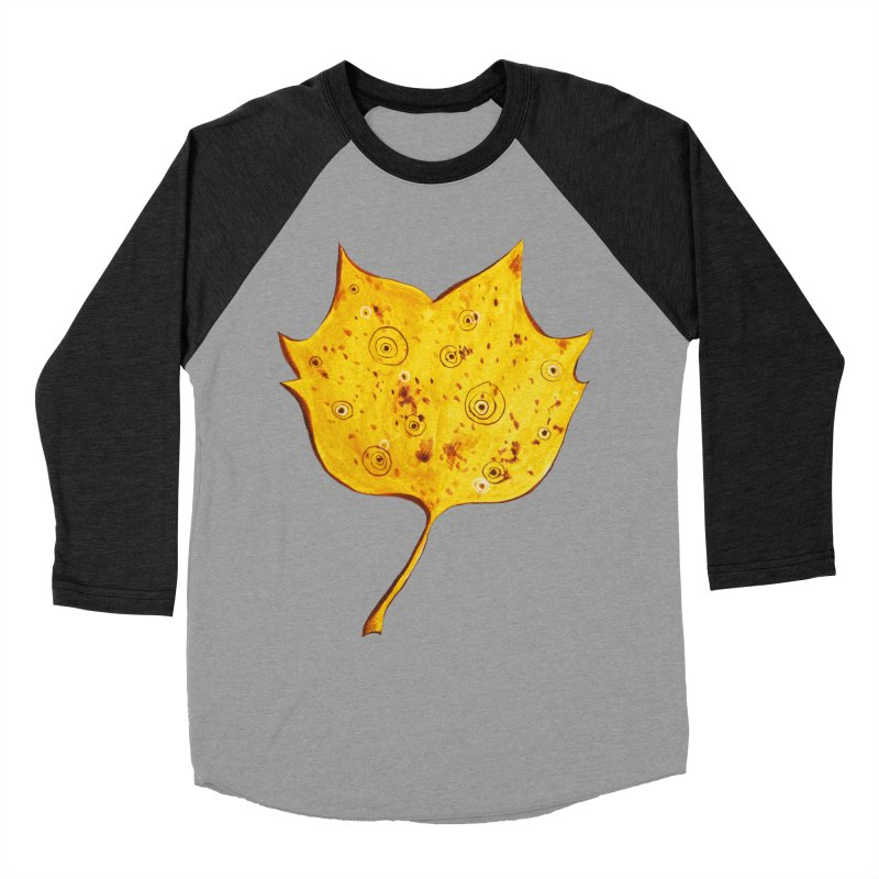 Fancy Yellow Autumn Leaf Men's Baseball Triblend Longsleeve T-Shirt by Boriana's Artist Shop