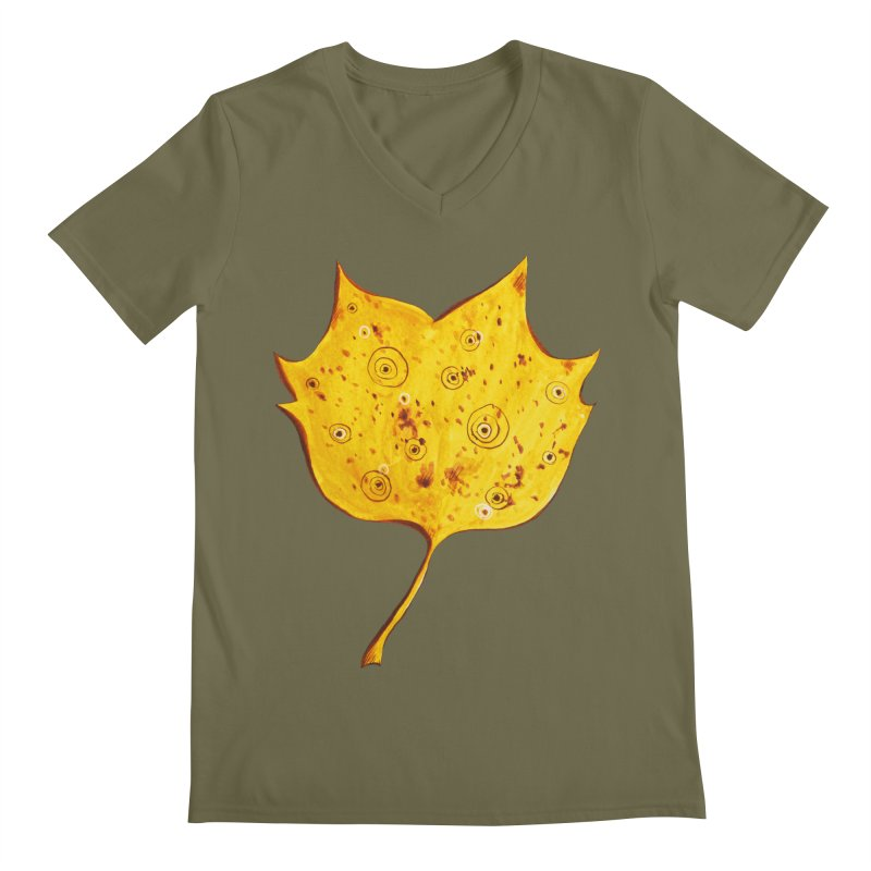 Fancy Yellow Autumn Leaf Men's V-Neck by Boriana's Artist Shop