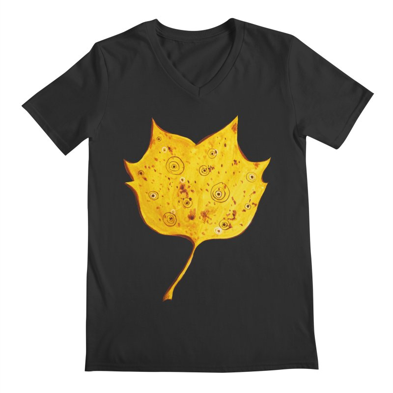 Fancy Yellow Autumn Leaf Men's Regular V-Neck by Boriana's Artist Shop