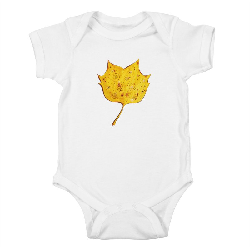 Fancy Yellow Autumn Leaf Kids Baby Bodysuit by Boriana's Artist Shop