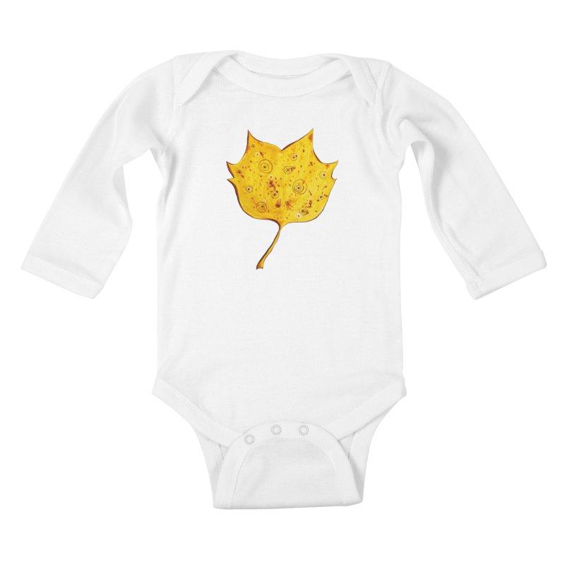 Fancy Yellow Autumn Leaf Kids Baby Longsleeve Bodysuit by Boriana's Artist Shop
