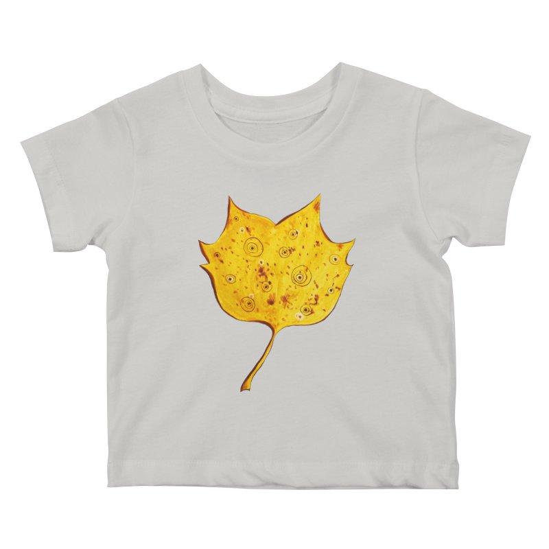 Fancy Yellow Autumn Leaf Kids Baby T-Shirt by Boriana's Artist Shop
