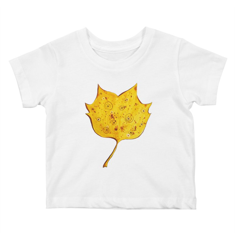 Fancy Yellow Autumn Leaf Kids Baby T-Shirt by Boriana's Artist Shop