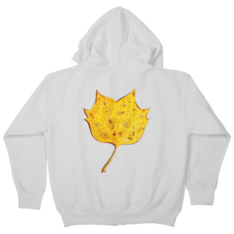 Fancy Yellow Autumn Leaf Kids Zip-Up Hoody by Boriana's Artist Shop