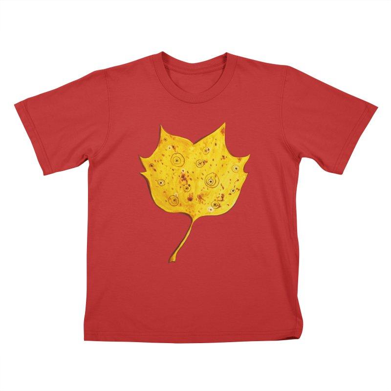 Fancy Yellow Autumn Leaf Kids T-Shirt by Boriana's Artist Shop