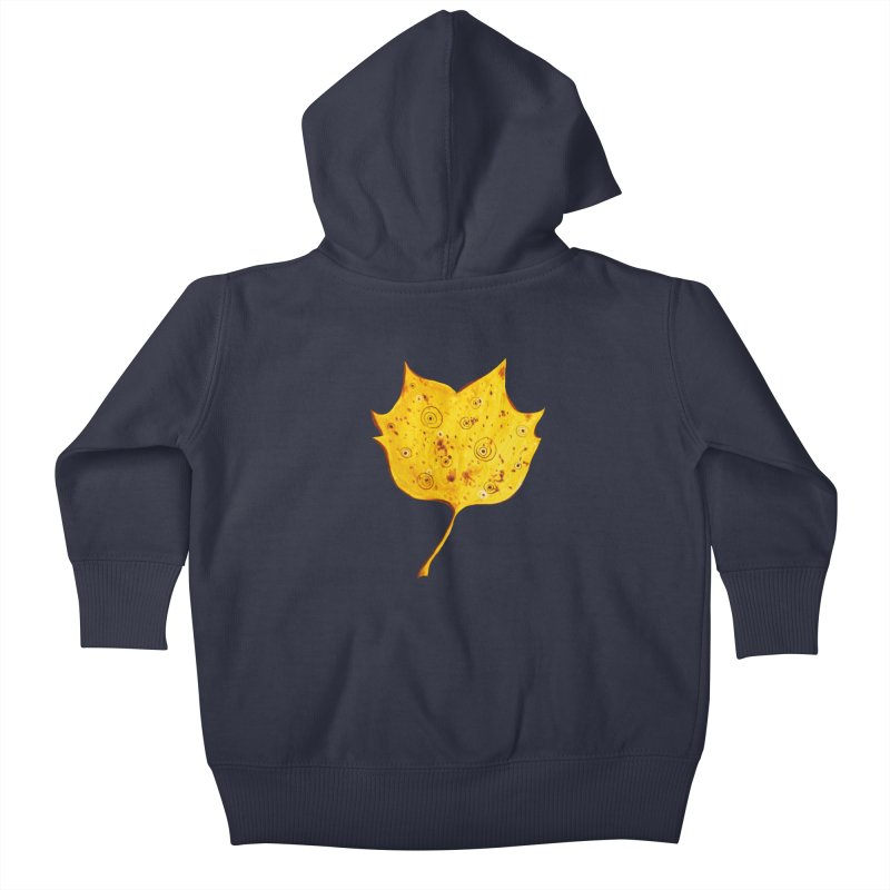 Fancy Yellow Autumn Leaf Kids Baby Zip-Up Hoody by Boriana's Artist Shop