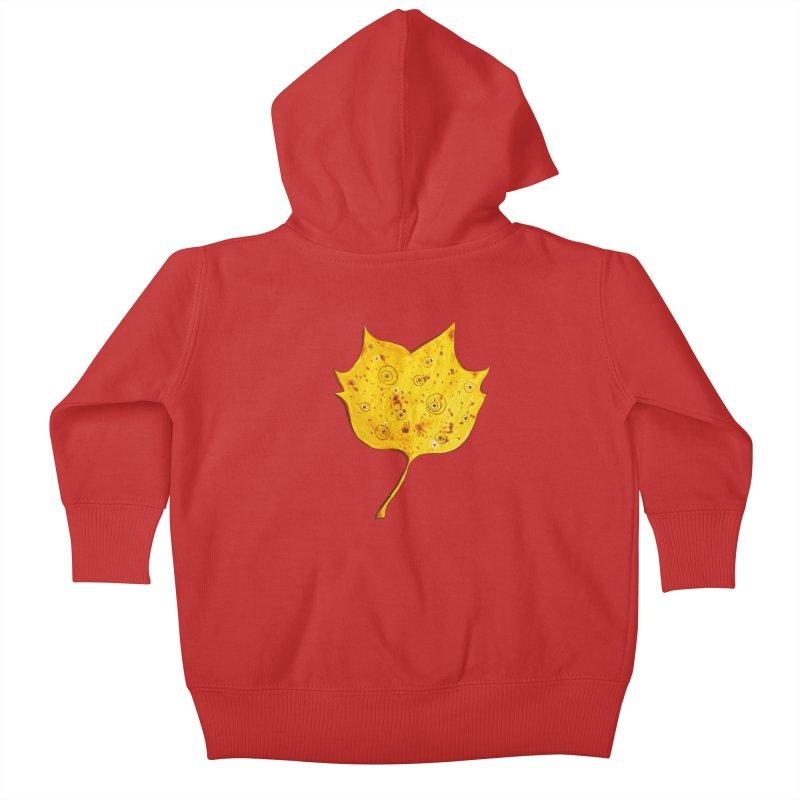 Fancy Yellow Autumn Leaf Kids Baby Zip-Up Hoody by Boriana's Artist Shop