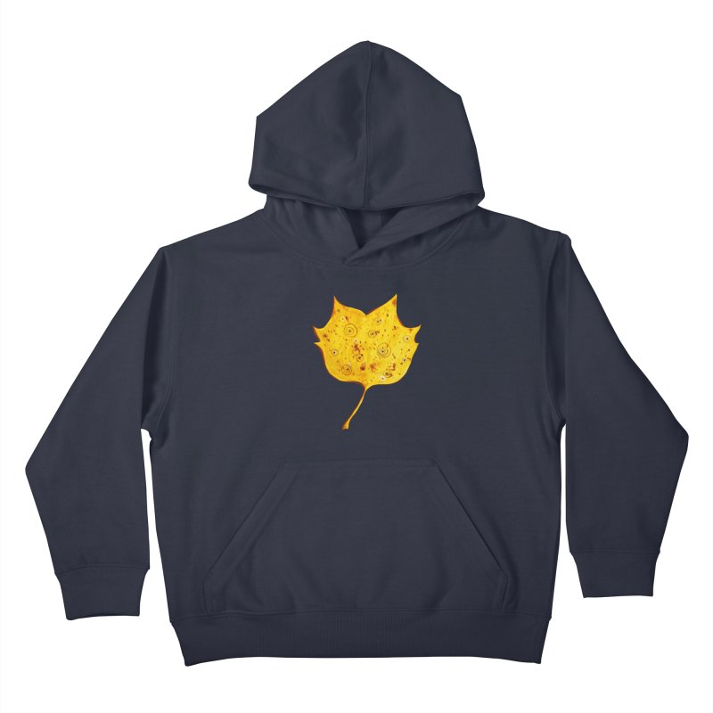 Fancy Yellow Autumn Leaf Kids Pullover Hoody by Boriana's Artist Shop