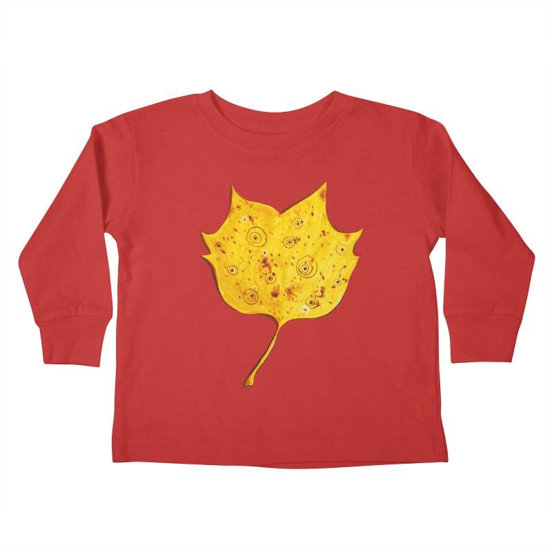 Fancy Yellow Autumn Leaf Kids Toddler Longsleeve T-Shirt by Boriana's Artist Shop