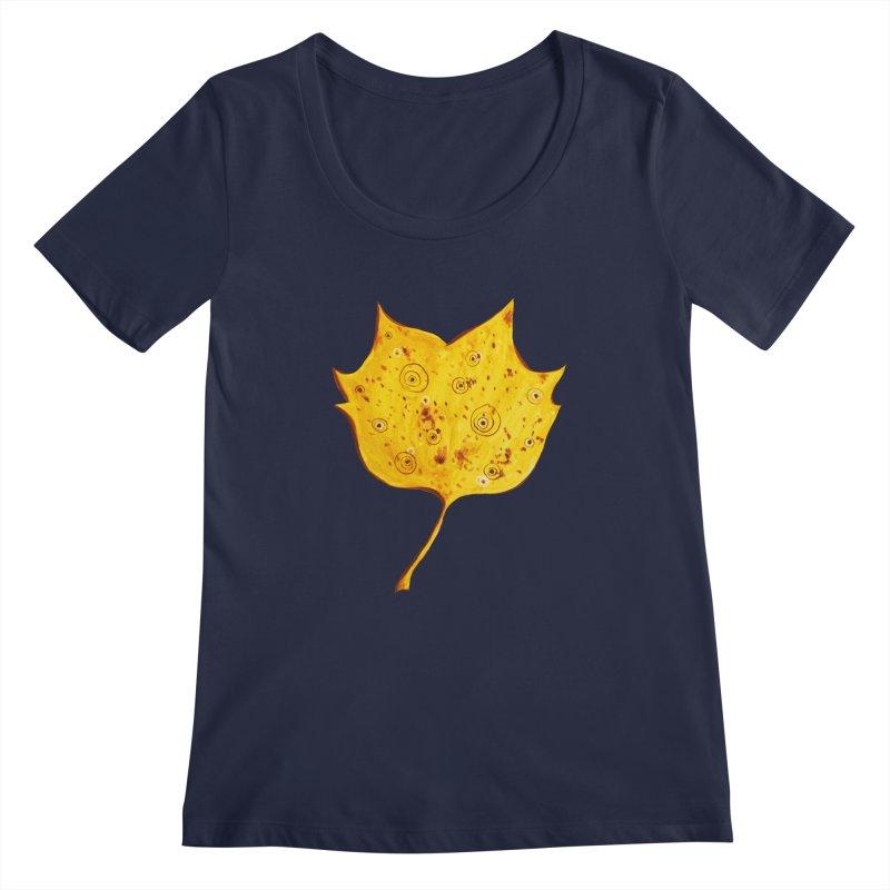 Fancy Yellow Autumn Leaf Women's Regular Scoop Neck by Boriana's Artist Shop