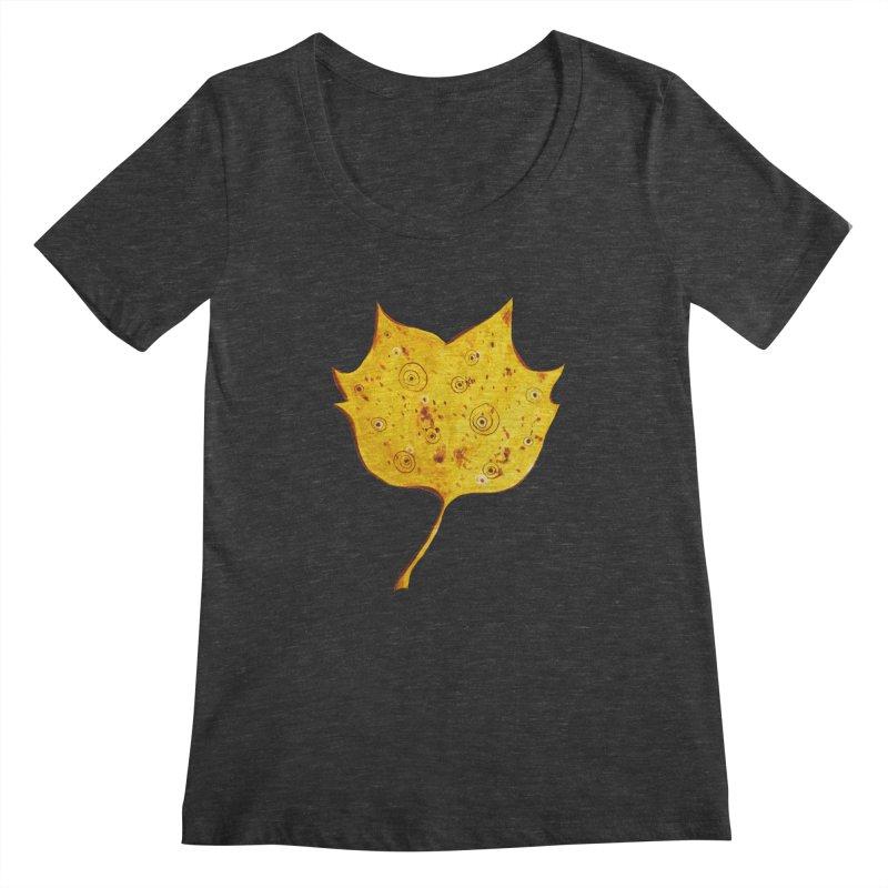 Fancy Yellow Autumn Leaf Women's Scoopneck by Boriana's Artist Shop