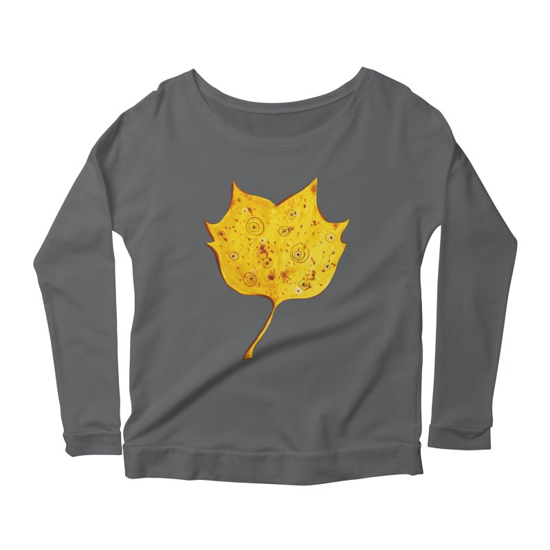 Fancy Yellow Autumn Leaf Women's Longsleeve Scoopneck  by Boriana's Artist Shop