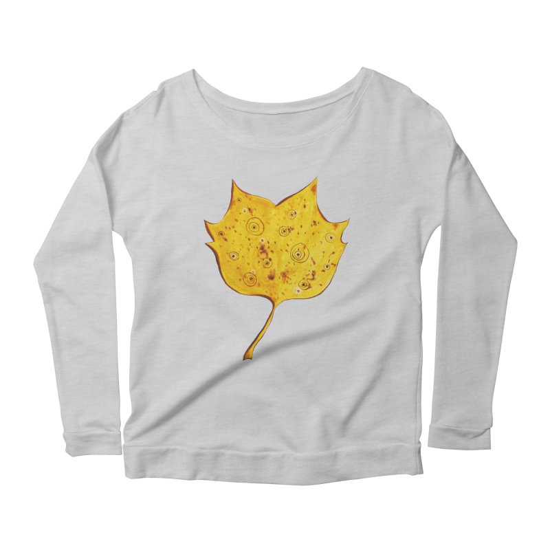 Fancy Yellow Autumn Leaf Women's Longsleeve Scoopneck  by Boriana's Artist Shop