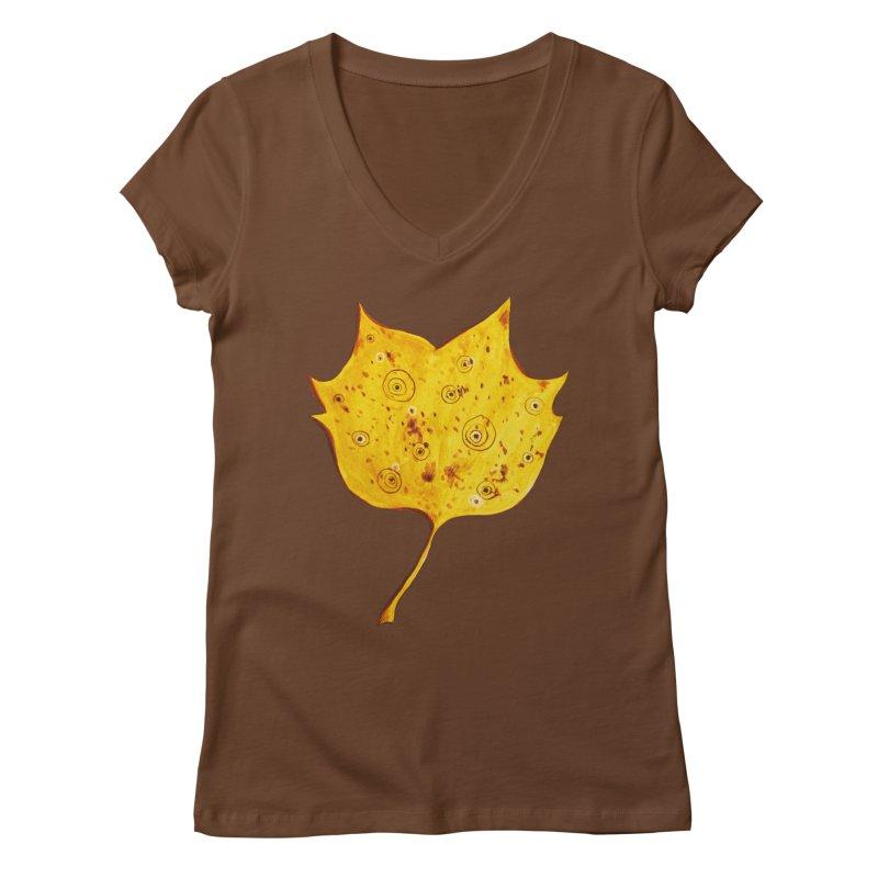 Fancy Yellow Autumn Leaf Women's V-Neck by Boriana's Artist Shop