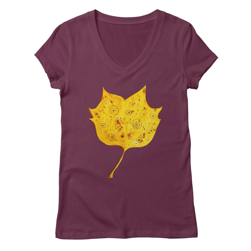 Fancy Yellow Autumn Leaf Women's V-Neck by Boriana's Artist Shop