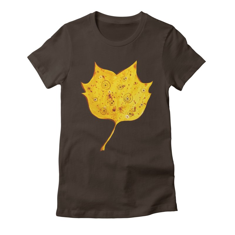 Fancy Yellow Autumn Leaf Women's Fitted T-Shirt by Boriana's Artist Shop
