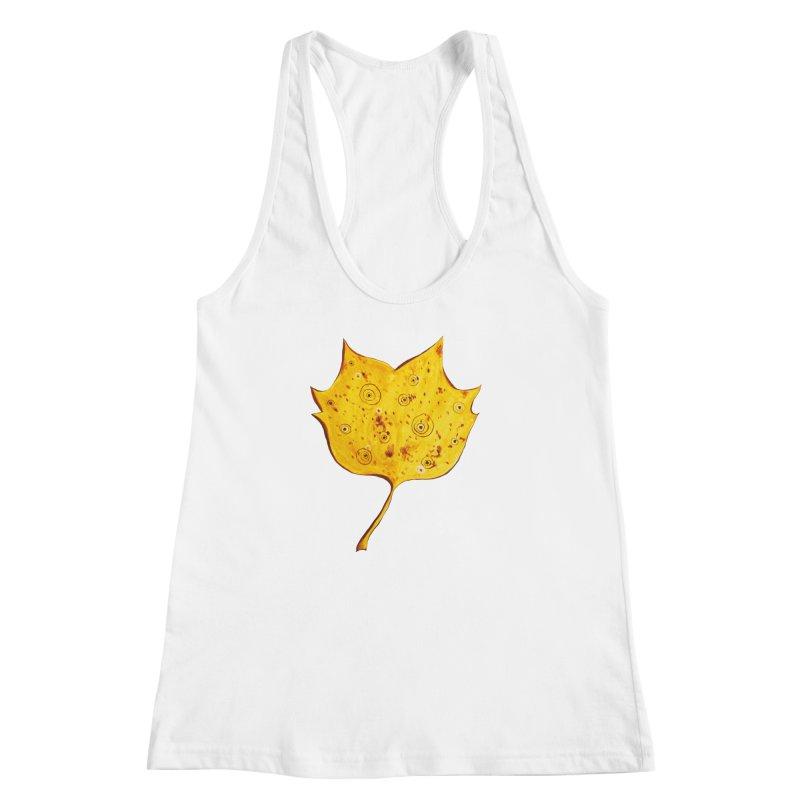 Fancy Yellow Autumn Leaf Women's Racerback Tank by Boriana's Artist Shop