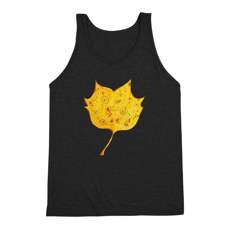 Fancy Yellow Autumn Leaf Men's Triblend Tank by Boriana's Artist Shop