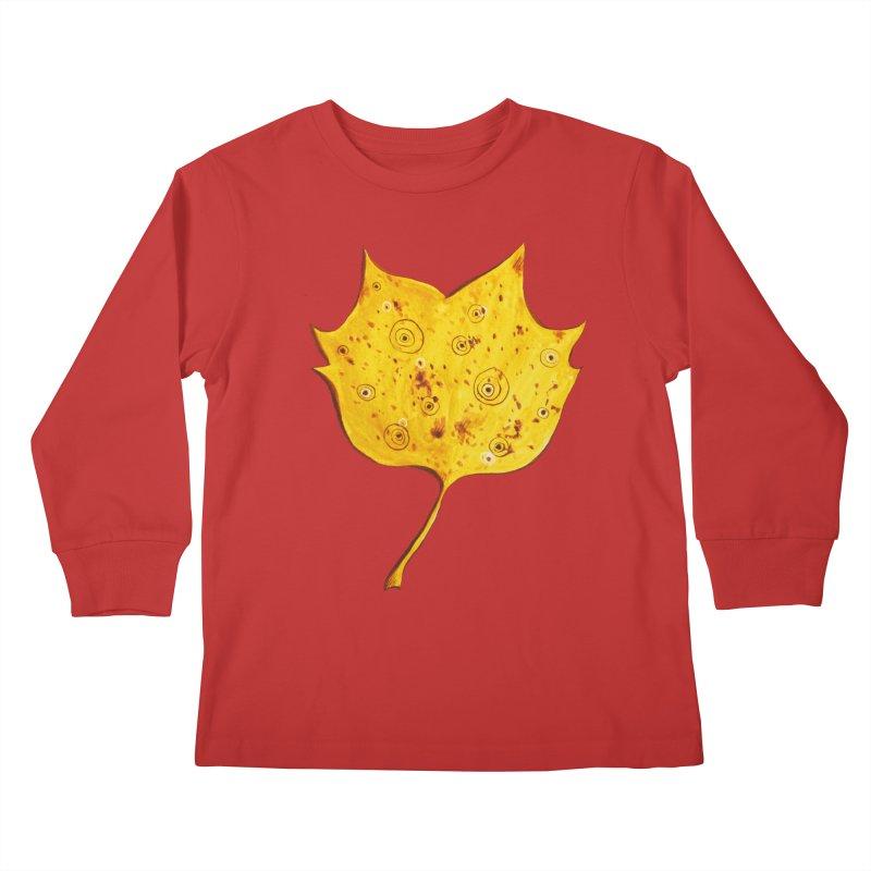 Fancy Yellow Autumn Leaf Kids Longsleeve T-Shirt by Boriana's Artist Shop